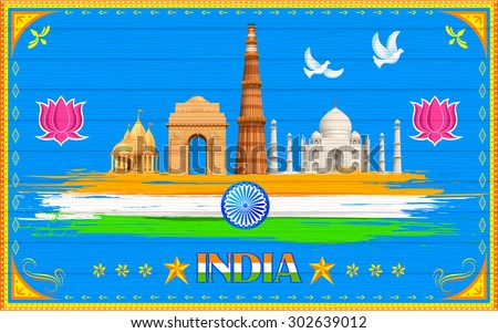 illustration of India background in truck paint style - stock vector