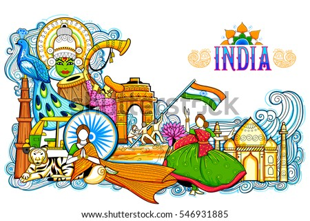 Illustration india background showing incredible culture for 26 january decoration