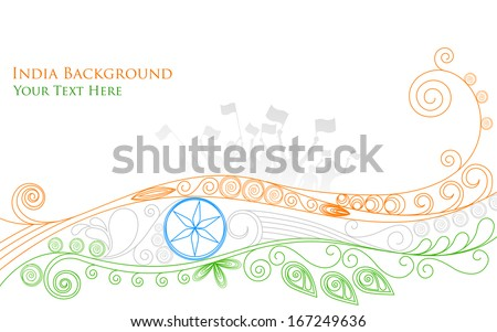 illustration of Indian citizen waving with floral tricolor India flag - stock vector