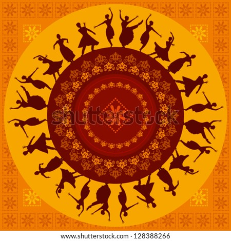 illustration of Indian classical dancer - stock vector
