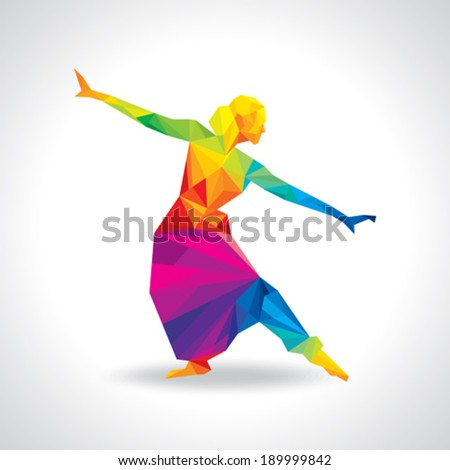 illustration of Indian classical dancer performing - stock vector