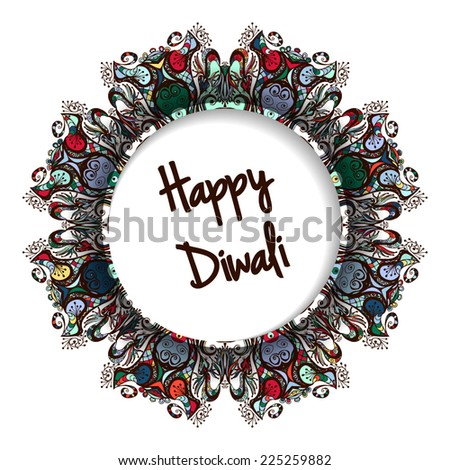 Illustration of Indian festival Diwali.Greeting round label - stock vector