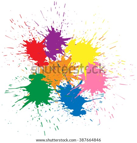 Illustration of Indian festival Holi celebrations with beautiful colors splash background. - stock vector