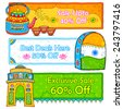 illustration of Indian kitsch art style sale and promotion banner - stock photo