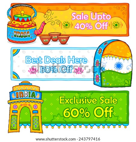 illustration of Indian kitsch art style sale and promotion banner - stock vector