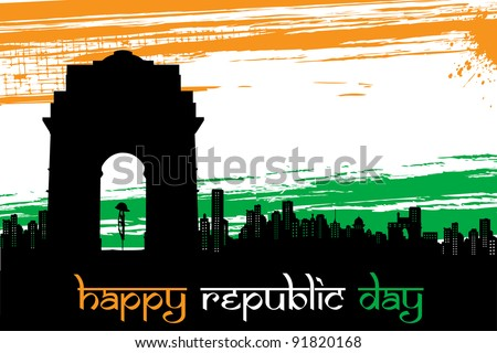 illustration of Indian monument on abstract tricolor grungy background - stock vector