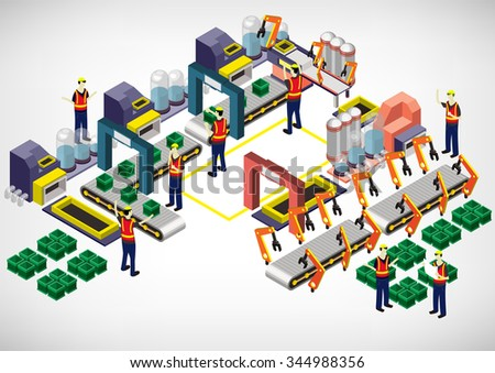 illustration of info graphic factory equipment concept in isometric 3D graphic - stock vector