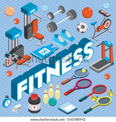 illustration of info graphic fitness concept in isometric 3d