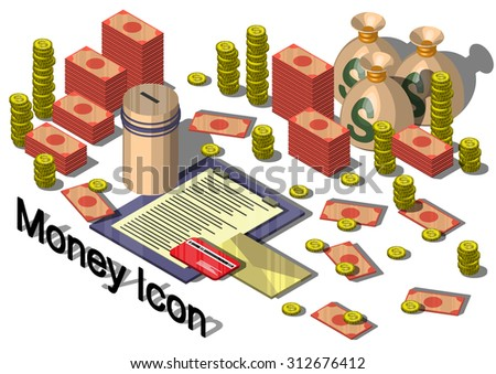 illustration of info graphic money equipment concept in isometric 3 D graphic