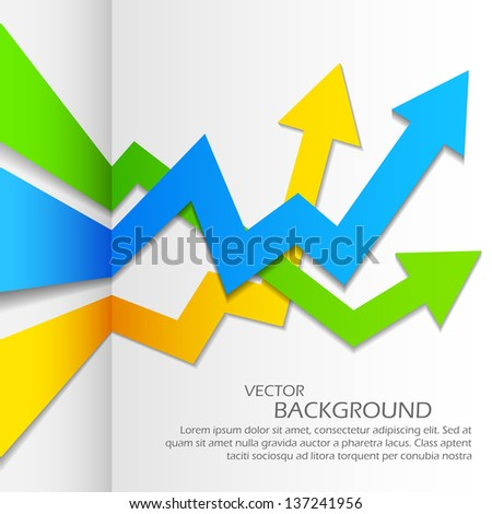 illustration of infographics business arrow chart for presentation and promotion - stock vector