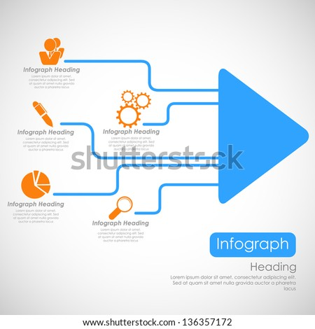 illustration of infographics options with arrow for presentation and promotion - stock vector