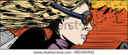 Illustration of intense woman in goggles racing her car in desert