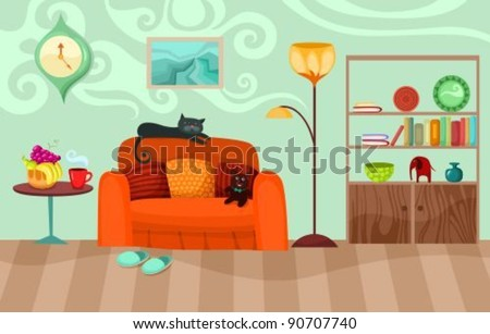 illustration of interior - stock vector
