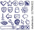 Illustration of internet web icons - hand drawn style - stock