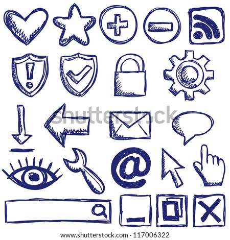 Illustration of internet web icons - hand drawn style - stock vector