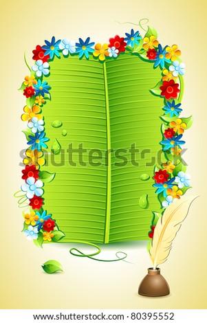 illustration of invitation letter on banana leaf - stock vector
