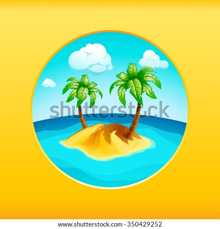 illustration of island in the sea with palm trees on yellow background - stock vector