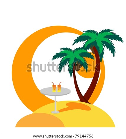 illustration of island with palm trees