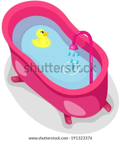 illustration of isolated a bathtub with rubber duck  - stock vector