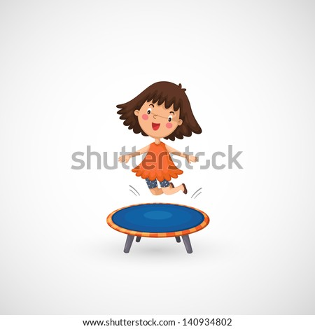 illustration of isolated a girl jumping on a trampoline - stock vector