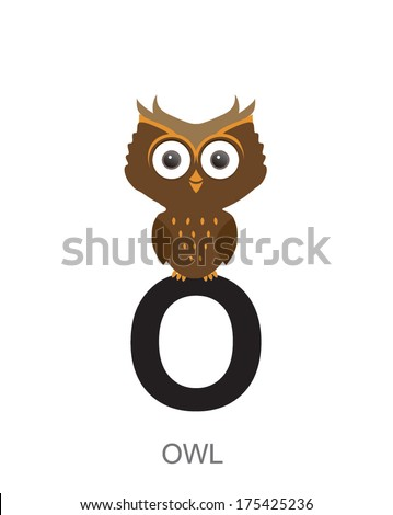illustration of isolated animal alphabet. O is for owl. Vector illustration. - stock vector