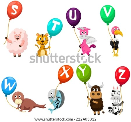 illustration of isolated animals alphabet with balloons - stock vector