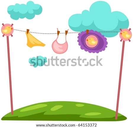 illustration of isolated baby clothes on a clothesline - stock vector