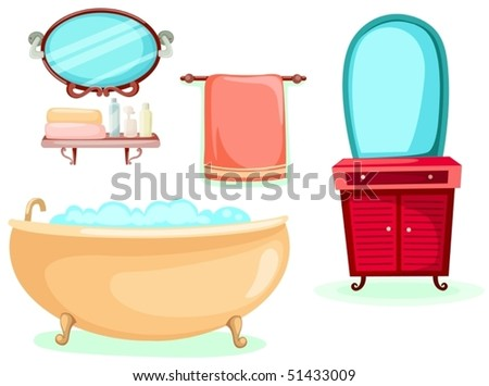 illustration of isolated bathroom icons set on white background - stock vector