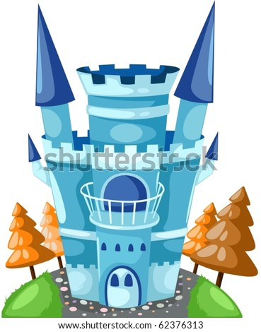illustration of isolated blue castle on white background - stock vector