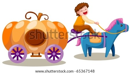 illustration of isolated boy driving pumpkin carriage on white - stock vector