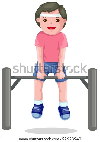 illustration of isolated boy hangs on a horizontal bar on white - stock vector