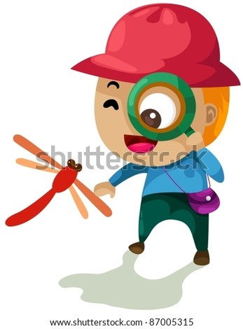 illustration of isolated boy looking through a magnifying glass - stock vector