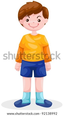 illustration of isolated boy standing on white background - stock vector