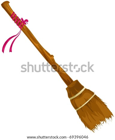illustration of isolated broom on white background - stock vector