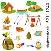 illustration of isolated camping collection  on white background - stock vector