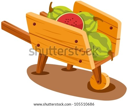 illustration of isolated cart with watermelon on white