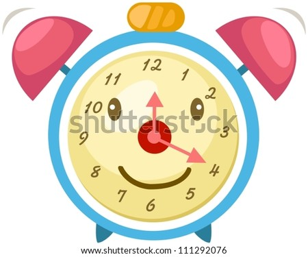 illustration of isolated cartoon alarm clock on white - stock vector