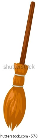 illustration of isolated cartoon broom on white background - stock vector