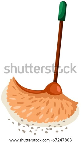 illustration of isolated cartoon broom with dust on white background - stock vector