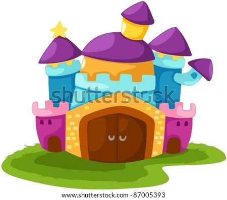 illustration of isolated cartoon castle on white background - stock vector