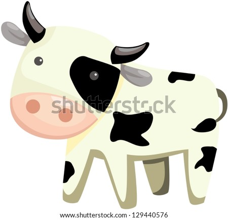 illustration of isolated cartoon cow on white background - stock vector