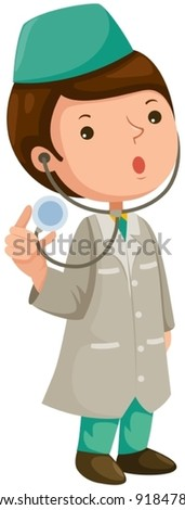 illustration of isolated cartoon doctor on white background - stock vector