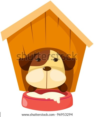 illustration of isolated cartoon dog in dog house on white - stock vector