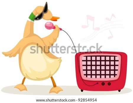 illustration of isolated cartoon duck singer on white - stock vector