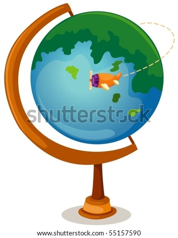 illustration of isolated cartoon globe and airplane - stock vector