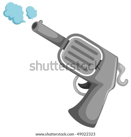 illustration of isolated cartoon gun on white background - stock vector