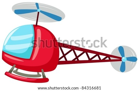 illustration of isolated cartoon helicopter on white background - stock vector