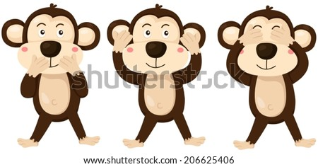 illustration of isolated cartoon monkeys covering eyes, ears and mouth - stock vector