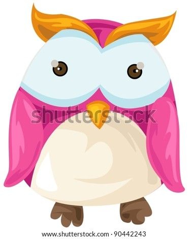 illustration of isolated cartoon owl on white background - stock vector