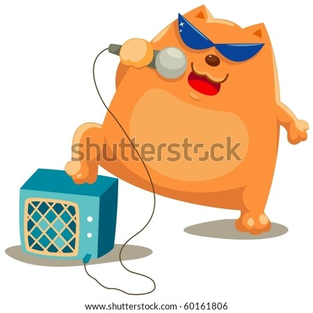 illustration of isolated cat singer on white background - stock vector